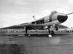 Bristol Filton Airport - An Avro Vulcan B1A V bomber parked on one of the rapid dispersal points at Filton during a public air display in the 1960s