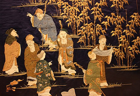 The Seven Sages of the Bamboo Grove, embroidery, 1860-1880 WLA vanda The Seven Sages of the Bamboo Grove.jpg