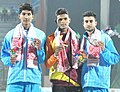 WP Manjula Kumara (SRI LANKA) won Gold Medal, Tejaswin Shankar (INDIA) won Silver Medal and Ajay Kumar (INDIA) won Bronze Medal, in the High Jump Men's, at the 12th South Asian Games-2016, in Guwahati on February 09, 2016.jpg