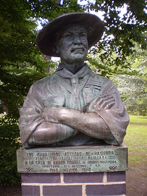 Gilwell Park - A bust of Baden-Powell presented by the Scout Association of Mexico, located near the Buffalo Lawn at Gilwell Park.