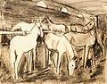 W Stock - Pferdegruppe im Stall Kohlezeichnung 1957 (WS89).jpg