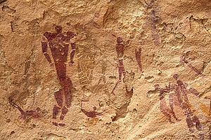 Cave of Swimmers - depiction of humans