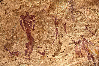 Team sport - Rock paintings of humans in the cave of swimmers