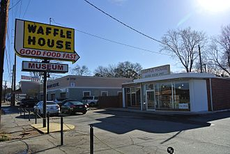"Waffle House - The first Waffle House restaurant in Avondale Estates, now a museum. Note the ""syrupy"" font on the sign as it was originally."