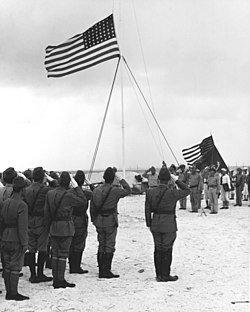 The surrender of the Japanese garrison on Wake island - September 4, 1945. Shigematsu Sakaibara is the Japanese officer in the right-foreground