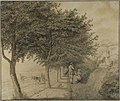 Wandelaars rustend aan een rechte bomenlaan tussen polder en duinen - H.J. van Amerom.jpg