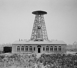 Nikola Tesla's Wardenclyffe Tower during construction in 1902