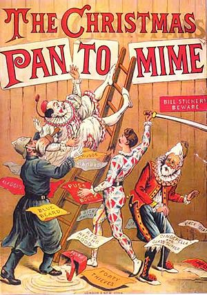 Pantomime - The Christmas Pantomime colour lithograph bookcover, 1890, showing the harlequinade characters