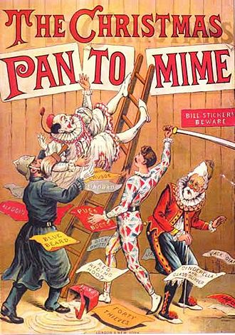 Pantomime - The Christmas Pantomime colour lithograph book cover, 1890, showing the harlequinade characters
