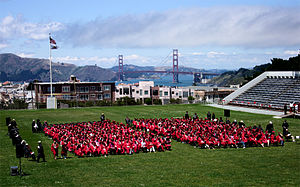 George Washington High School (San Francisco) - Senior graduation, 2005, with familiar view of Golden Gate Bridge