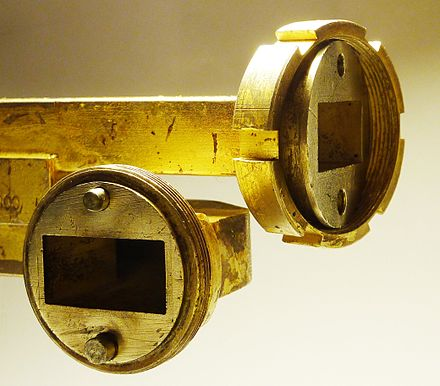 Figure 6. Non-standard quick-disconnect (threaded collar) flanges on WR102 guide Waveguide-flange-with-threaded-collar.jpg