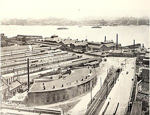 North Hudson County Railway - North Hudson County Railway at the foot of Pershing Road at Weehawken Terminal  ca. 1911