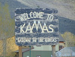 Welcome to Kamas sign on SR-248, Apr 16.jpg