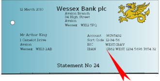 International Bank Account Number - Image: Wessex Bank Statement