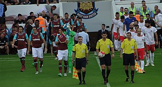 2015–16 West Ham United F.C. season - The players of West Ham and Lusitans before their game, 2 July 2015