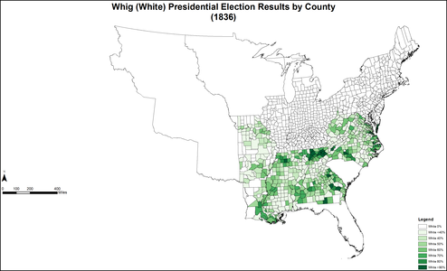 Map of White Whig presidential election results by county