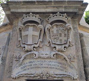 Bontadino de Bontadini - Inscription at the Wignacourt Water Tower in Floriana, Malta, making a reference to Bontadino de Bontadini