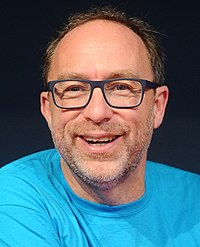 Jimmy Wales Wikimania 2016 - Press conference with Jimmy Wales and Katherine Maher 01 (cropped).jpg