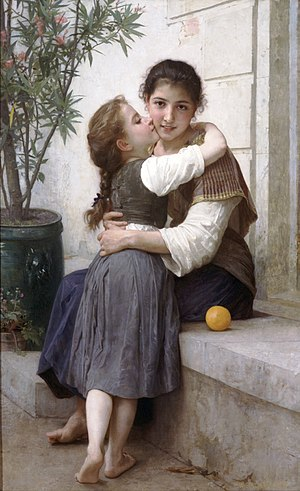 Kiss - A Little Coaxing A painting by William Bouguereau (1890).