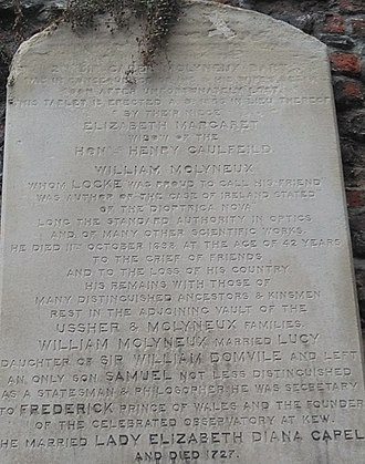 William Molyneux - Molyneux's tombstone in St. Audoen's, Dublin. It mentions his works The Case of Ireland and Dioptrica nova, his friendship with John Locke, and his son Samuel.
