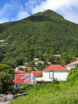 Mount Scenery - Image: Windwardside Village with Mount Scenery