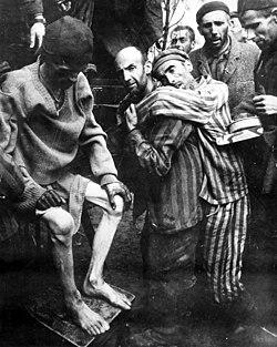 Prestando atendimento médico aos prisioneiros encontrados no campo de concentração de Wobbelin, Alemanha, 5 de Abril de 1945.