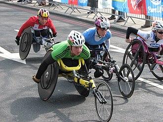 Tatyana McFadden - The women's wheelchair race at the 2011 London marathon (left to right: Sandra Graf, Shelly Woods, Tatyana McFadden, Amanda McGrory).