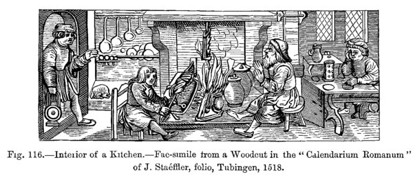 Woodcut of a kitchen.