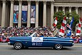 World War II veteran Jerry Yellin sits atop the back of a convertible car while serving as an honorary marshal for the 2013 National Memorial Day Parade in Washington, D.C., May 27, 2013 130527-A-AO884-244.jpg