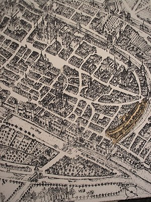 Worms, Germany - Map of Worms in 1630. The Jewish Ghetto is marked in yellow.