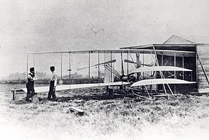 Wright Flyer II - Orville (left) and Wilbur Wright with the Wright Flyer II at Huffman Prairie May 1904