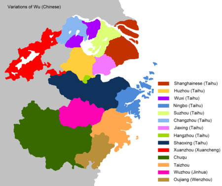 Map of dialects of Wu: Shanghainese is in dark red, in the top-right Wu Dialects.png