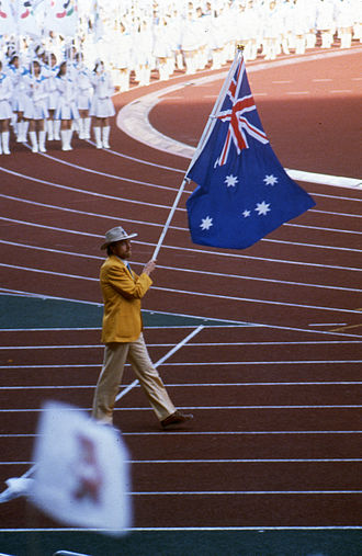 1988 Summer Paralympics - Australian flag bearer Paul Croft at the Opening Ceremony.