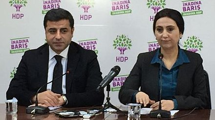 Opposition politicians Selahattin Demirtas and Figen Yuksekdag had been arrested on terrorism charges Yuksekdag and Demirtas.jpg