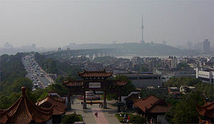 Tortoise Mountain TV Tower - View from the Yellow Crane Pavilion (Huang He Lou Pavilion) on Sheshan Hill, The TV tower is seen in the distance on Guishan Hill on the opposite side of the river