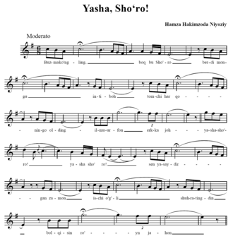 "Hamza Hakimzade Niyazi - ""Yasha, Shoʻro!"" (""Hail to the Soviets!"") — an Uzbek folk song composed and written by Niyazi"