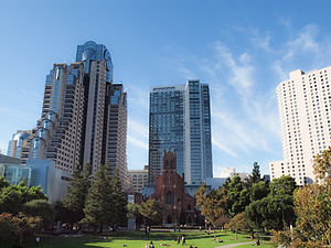 Park Central Hotel San Francisco - Park Central hotel, on right, overlooking Yerba Buena Gardens