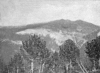 Yogo sapphire - Yogo Peak seen from the Belt Creek Divide, c. 1900