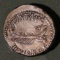 Zecca itinerante, denario in argento di marco antonio, con nave e scettro, 32-31 ac.jpg