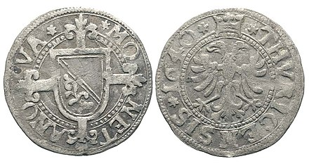 Billon shilling coin of the imperial city of Zurich (1640) Zurich, Schilling 1640.jpeg