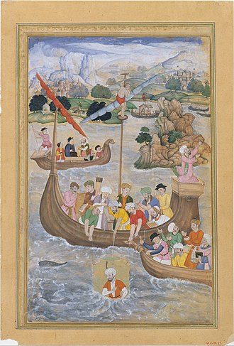 Amir Khusrow - Alexander is Lowered into the Sea, from a Khamsa of Amir Khusrau Dihlavi, attributed to Mukanda c. 1597-98, Metropolitan Museum of Art