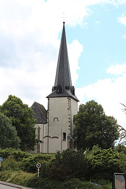 Église Saints-Pierre-et-Paul Niederwiltz, church tower.jpg