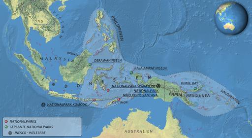 Übersichtskarte zur Lage des Korallendreiecks