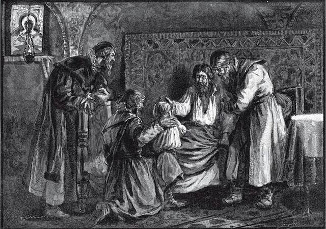 Василий III благословляет сына своего Ивана IV перед своей кончиной