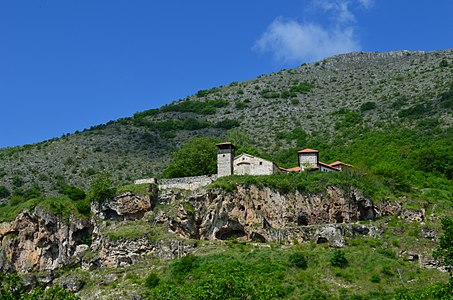 Zrze Monastery with the hermit's caves beneath, Macedonia