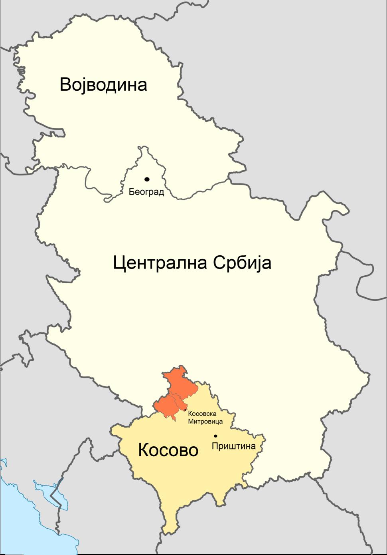Мапа Србије, Северно Косово је обележено наранџастом бојом