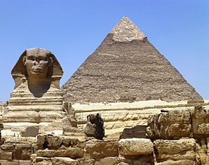 Outline of ancient Egypt - The Great Sphinx of Giza and Khafre Pyramid