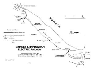 Grimsby and Immingham Electric Railway - Image: 0. G&I map ok