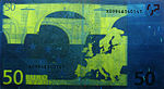 50 euro note under UV light (Reverse)
