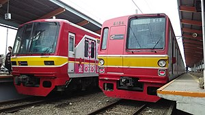 Kereta Commuter Indonesia - Commuterline rolling stock ex Tokyo Metro Tozai Line 05 series and Tokyo Metro Chiyoda Line 6000 series sets, with typical red and yellow livery.